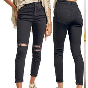 Free People Black Distressed High Rise Jeans 26